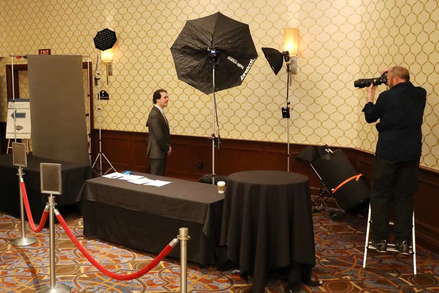 What is a conference headshot station
